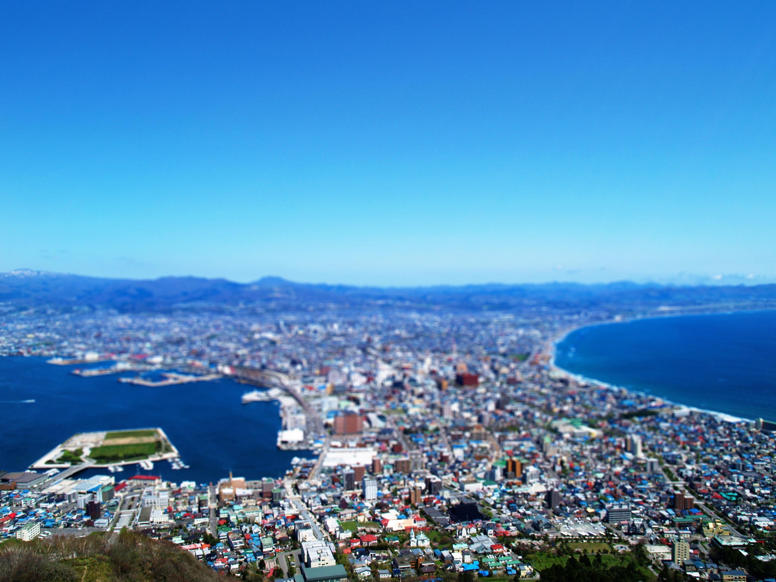 函館山山頂からの景色をジオラマ模型風 ミニチュア風 の壁紙を作りました ご自由にダウンロード下さい 函館のホームページ制作専門会社です